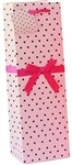 WINE GIFT BAG - PINK WITH BLACK DOTS/RIBBON