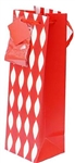 WINE GIFT BAG - ARGYLE RED WITH TISSUE PAPER